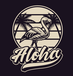 Black and white with flamingo in vintage style vector
