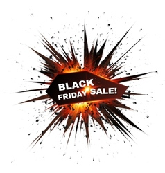 Black Friday sale red explosion star vector