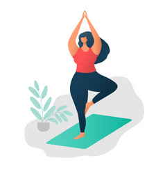 body positive concept happy yoga plus size girl vector image