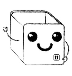 Box carton delivery service kawaii character vector