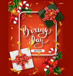 boxing day banner design lettering calligraphy vector image