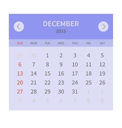Calendar monthly december 2015 in flat design vector