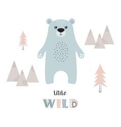 card with cartoon cute bear vector image