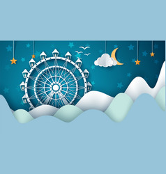 cartoon paper landscape ferris wheel vector image