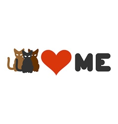 Cats love me Heart and pets Logo for cats owner vector
