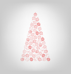 Christmas tree from hand drawing christmas ball vector