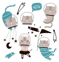 Circus cats astronauts clipart cute cartoon vector