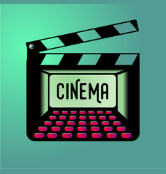Clap board with cinema inside clapper with movie vector