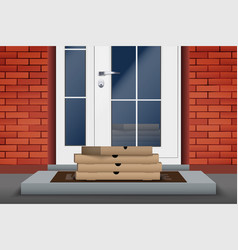 Contactless delivery pizza box on doorstep vector