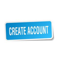 Create account square sticker on white vector