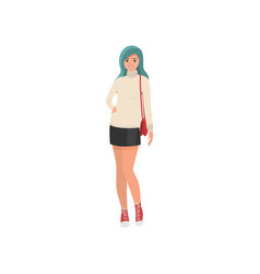 Cute smiling young girl with green hairs and short vector