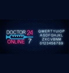 doctor online glowing neon logo with alphabet vector image