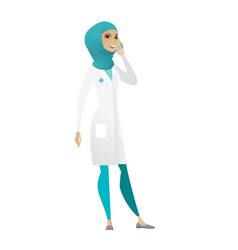 doctor talking on a mobile phone vector image