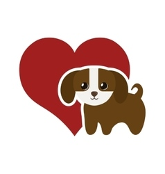 dog domestic mammal red heart vector image