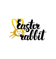 easter rabbit handwritten lettering vector image
