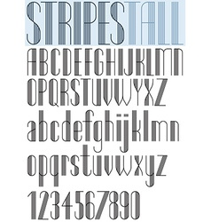 Elegant Tall Striped retro style artistic font vector image