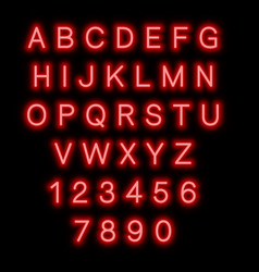 english alphabet and numbers neon style vector image