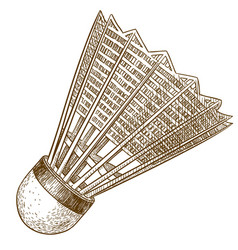 Engraving antique of shuttlecock vector