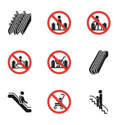 escalator restriction icon set simple style vector image