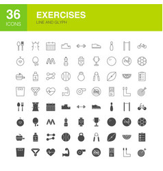 exercises line web glyph icons vector image