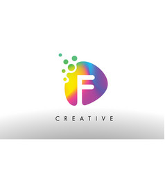 F colorful logo design shape purple abstract vector