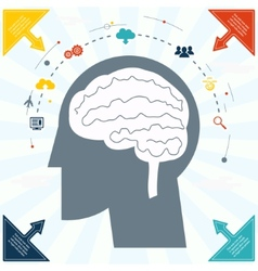 Flat businessman brain headmind social network vector