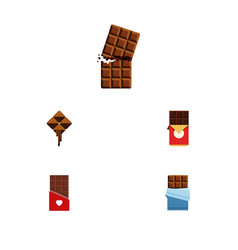 Flat icon cacao set of bitter chocolate vector