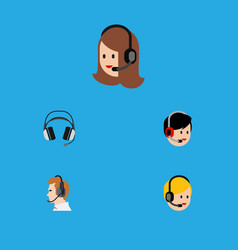 Flat icon telemarketing set of telemarketing vector