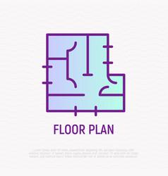 Floor plan thin line icon vector