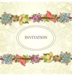 floral invitation card flowers and leaves vector image
