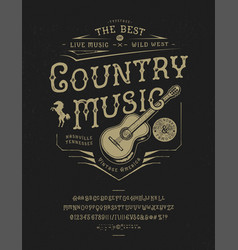 font country music craft retro vintage typeface vector image