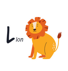funny image lion and letter l zoo alphabet vector image