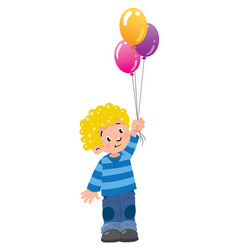 Funny little boy with balloons vector