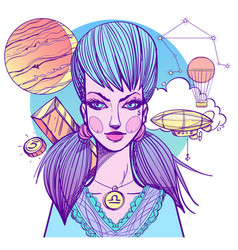 Girl symbolizes the zodiac sign libra pastel goth vector