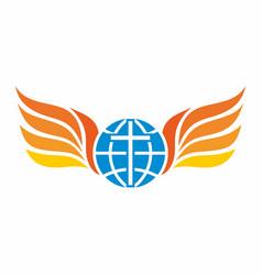 Globe cross and fish symbol vector