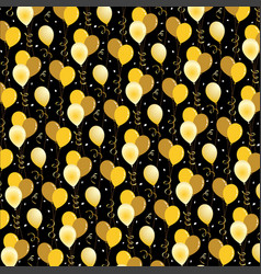 Gold balloons and confetti pattern on black vector