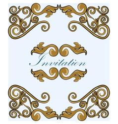 Gold damask ornament invitation vector