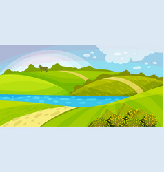 Green landscape with hills river and clear sky vector