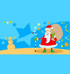 greeting card with santa claus on christmas time vector image