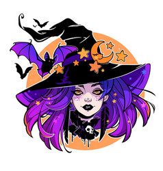 halloween composition of cartoon witch in hat vector image
