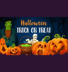 halloween pumpkins zombie and mummy vector image