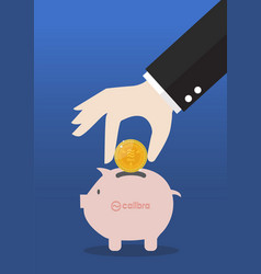 hand collect bitcoin in piggy bank vector image