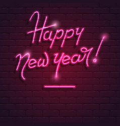 Happy new year neon purple text on brick wall vector