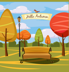 hello autumn park landscape style cartoon vector image