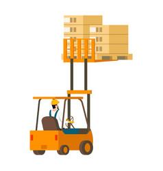human-driven forklift car lifting wooden box up vector image