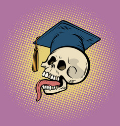 human skull in a graduate hat vector image