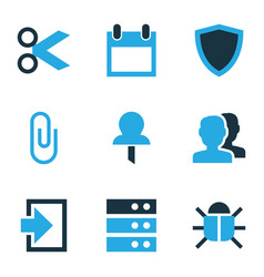 Interface icons colored set with attach protect vector