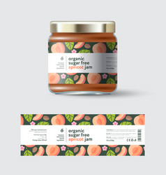Jam apricot label and packaging jar with cap vector
