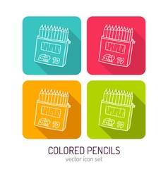 line art box of colored pencils icon set in four vector image
