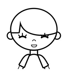 Line tender boy child with pijama and hairstyle vector